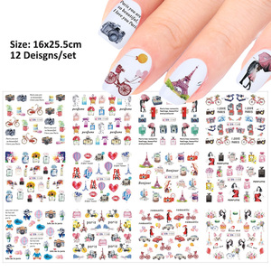 Image 2 - 12pcs Romantic Paris Designs Nail Art Stickers Decals Cartoon Perfume Sliders On Nails Wraps Tip Charms Decoration TRBN1141 1152