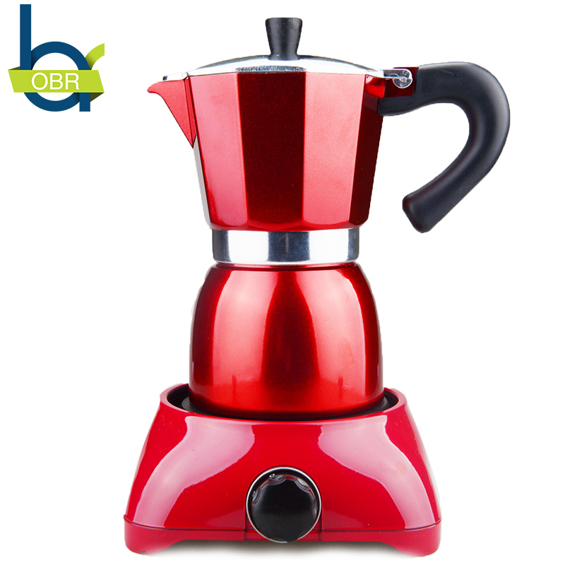 2PCS Aluminum Coffee Moka Pot Set With Electric Stove Electric heating Filter Coffee pots Machine Red