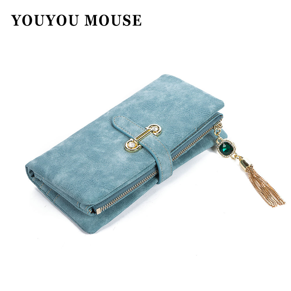 YOUYOU MOUSE PU Leather Women Wallets Diamond Pendant Money Purse Long Lady Clutch Zipper Tassel Coin Packet Card Holder