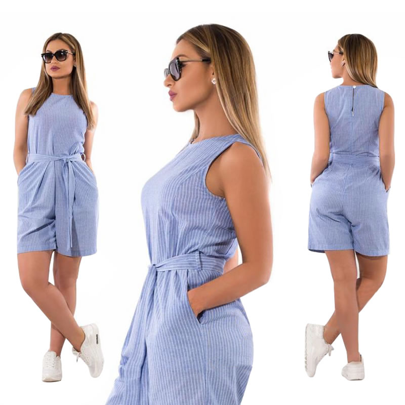 2019 women   jumpsuit   overalls playsuit sleeveless striped printed rompers women   jumpsuit   5XL 6XL plus size women short mono mujer