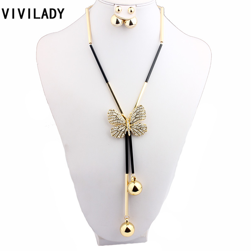 VIVILADY Fashion Rhinestone Butterfly Jewelry Sets Women Long Beads Chain Sweater Insect Necklace Earring Accessories Party Gift цены