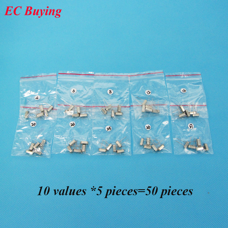 Crystal Oscillators HC-49S Assortment Kit Quart 4 MHz 6MHz 8MHz 12MHz 16MHz 20MHz <font><b>24MHz</b></font> 25MHz 26MHz 27MHz 10Value x 5PCS=50 PCS image
