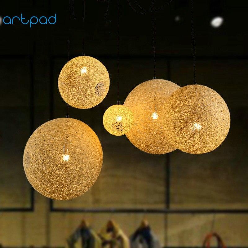 Artpad американский кантри плетеная из ротанга подвесной светильник AC110V-220V E27 светодиодный шар подвесной светильник для ресторан отеля Украше...