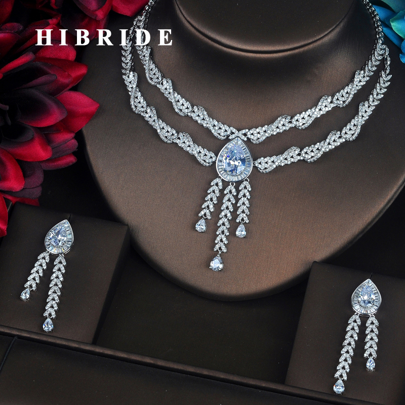 HIBRIDE Luxury Water Drop Shape Pendant Micro CZ Pave Women Jewelry Sets Necklace Sets Dress Accessories Wholesale Price N-397 be8 luxury red water drop pendant jewelry set for women 5 colors bohemia necklace earring sets bridal dress accessories s 024