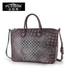 Embroidered Women Handbag Genuine Leather Vintage Women Cross body Shoulder bag 2017 Handmade High capacity Women Totes Bags