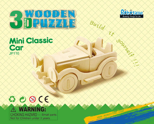 Robotime DIY 3D Wooden Car Truck Puzzle Game Children Kids Natural