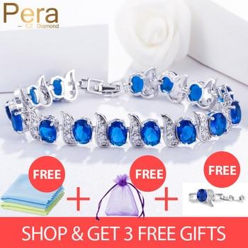 3fb370530ad4 Pera diseño europeo Natural azul cúbico zirconio cristal piedra blanca 925  joyería de plata de ley gran encanto pulsera para mujer B079