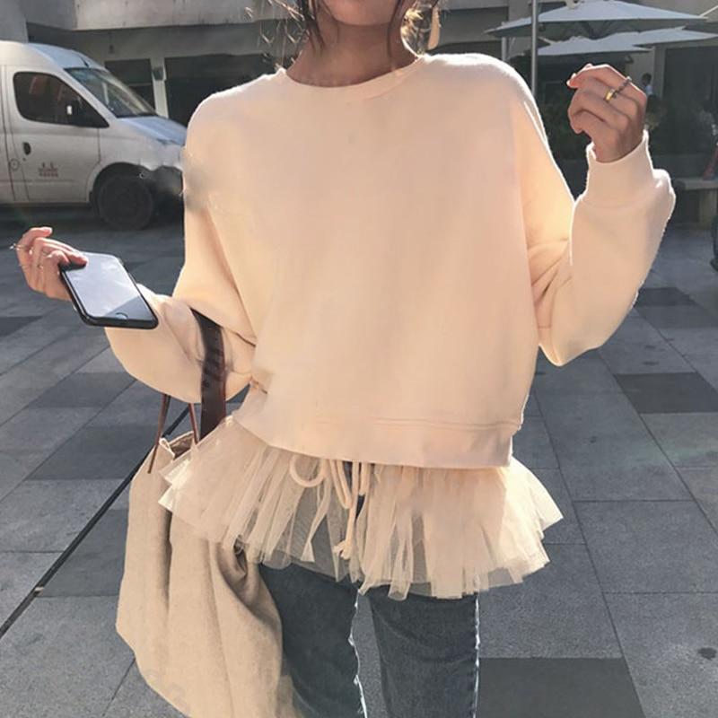 Fashion Korean Sweatshirt For Women Top Female Patchwork Mesh Knitted Autumn Pullovers Fake Two Piece Hoodie Girls Sweatshirts
