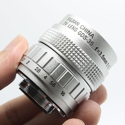 35mm F1.7 CCTV Lens for E-P3 E-P2 E-PL3 E-PL2 E-PL1 GF3 GF2 GH2 G2 G3 C Mount SILVER Macro Close Up lens