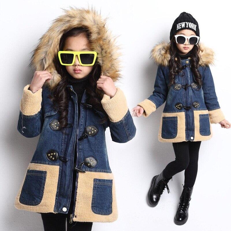 ФОТО 2016 Children kids girls denim jacket large fur collar cotton denim outerwear tops Autumn Winter Basic cowboy jacket for girls