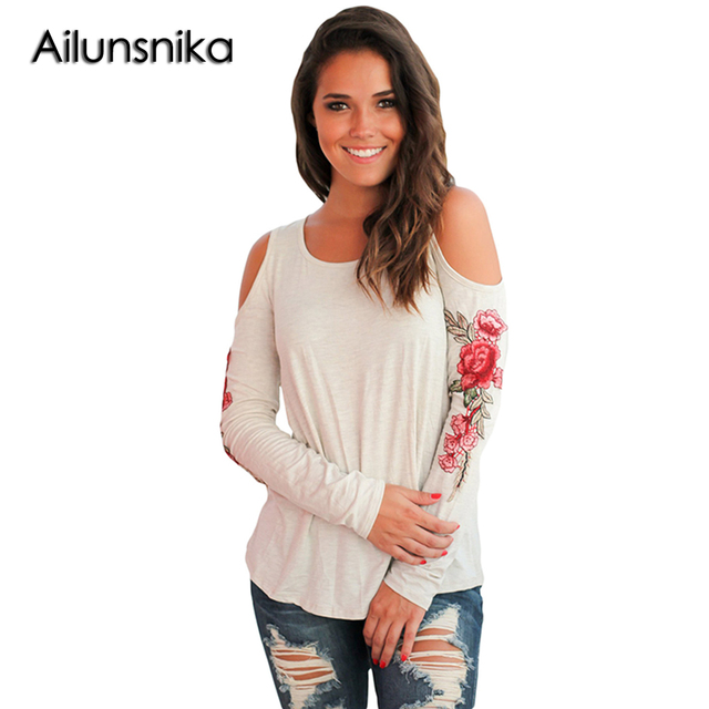8057fc13fe8 Ailunsnika Womens Rose Floral Embroidered Blouse Cold Shoulder Tunic Black  Shirt Blusas Lady Blouses Blue Autumn Top Big Size