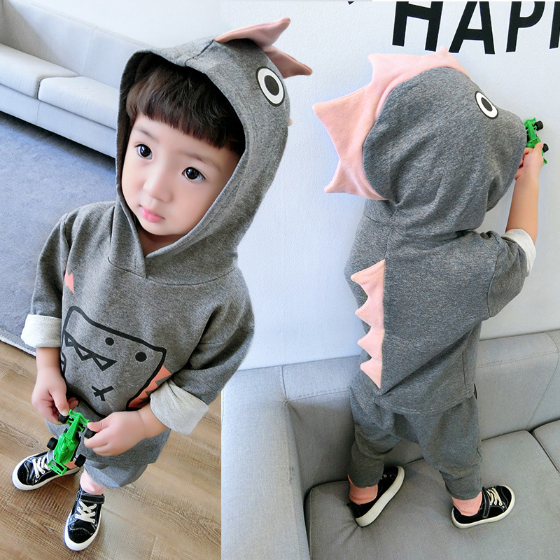 2017 Kids clothes sets Cartoon monster dinosaur girls boys Comfortable soft toddler baby coat children clothing Halloween gifts