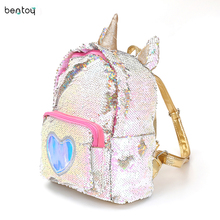 2019 Women Sequins Backpack Cute Unicorn Schoolbag For Teenage Student Girls Satchel Female mochila de couro Packpack School Bag(China)