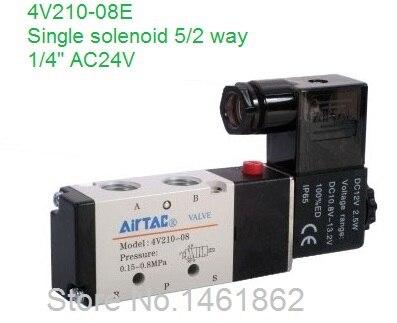 4V210 08E 1/4 2 Position 5 Port Air Solenoid Valve 4V210 08E Pneumatic Control Valve, AC 24V, CE