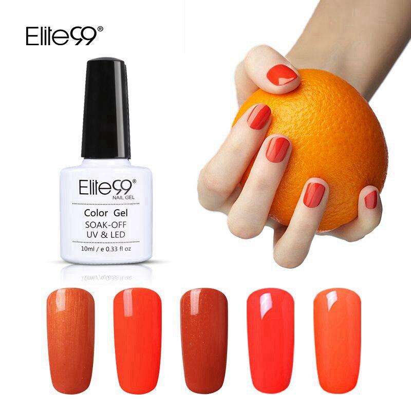 Elite99 Orange Series UV Gel Pure Color Nail Gel Polish Long Lasting Enamel Base Top Needed LED Lamp Curing Pick 1 From 10