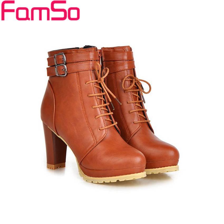 Plus Size34 43 2016 new Sexy font b Women b font Boots high Thick Heels Platforms