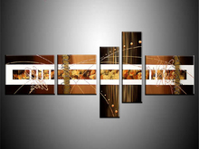 ФОТО 100% hand-painted modern wall art abstract oil painting on canvas gold line art picture 5 pcs/set home sitting room adornment