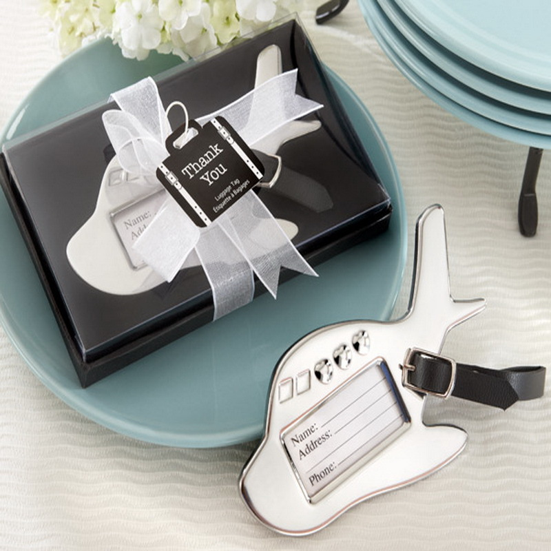 (100Pcs/Lot)FREE SHIPPING+Destination Wedding Favors Chrome Airplane Luggage Tag/Baggage Tags Travel Essentials Party Giveaway