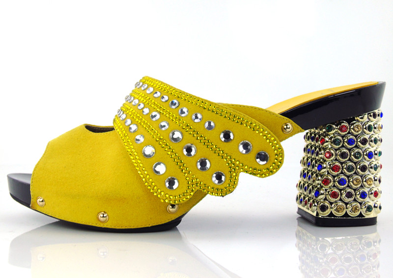 KL1609 Yellow High quality African Shoes New Fashion Italian Lady slipper High Heels 5 colours in
