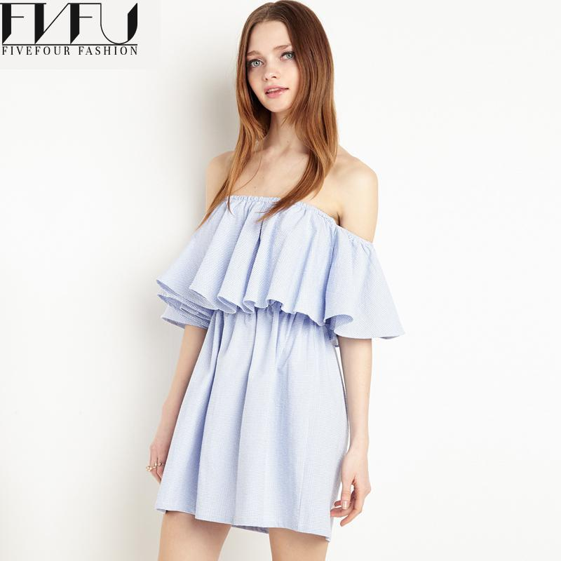 New Fashion 2017 Women Summer Dress Elegant Summer Style Flounced Ruffles Dress Solid Color Off