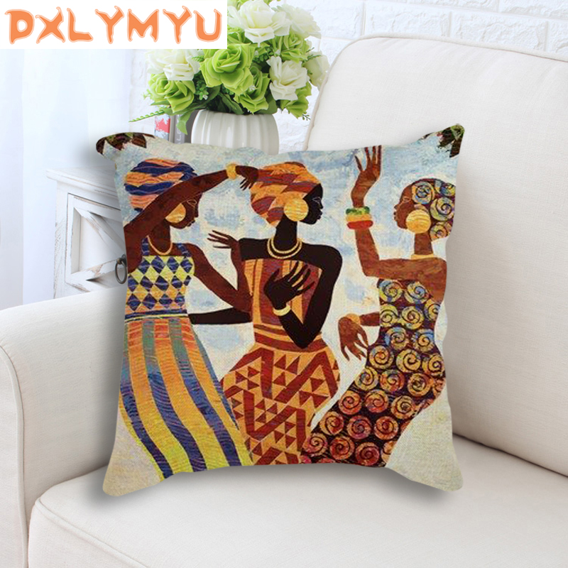 Throw Pillow Case Cover Africa Painting Art Impression Exotic Style Linen Cotton Pillowcase 45x45cm