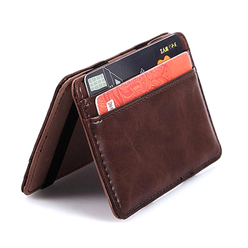 PU Leather Magical Flip Purse Bifold Wallet Ultra Slim Minimalist Billfold, Luxury Credit Card Holder ID Case Change Wallet fashion solid pu leather credit card holder slim wallet men luxury brand design business card organizer id holder case no zipper