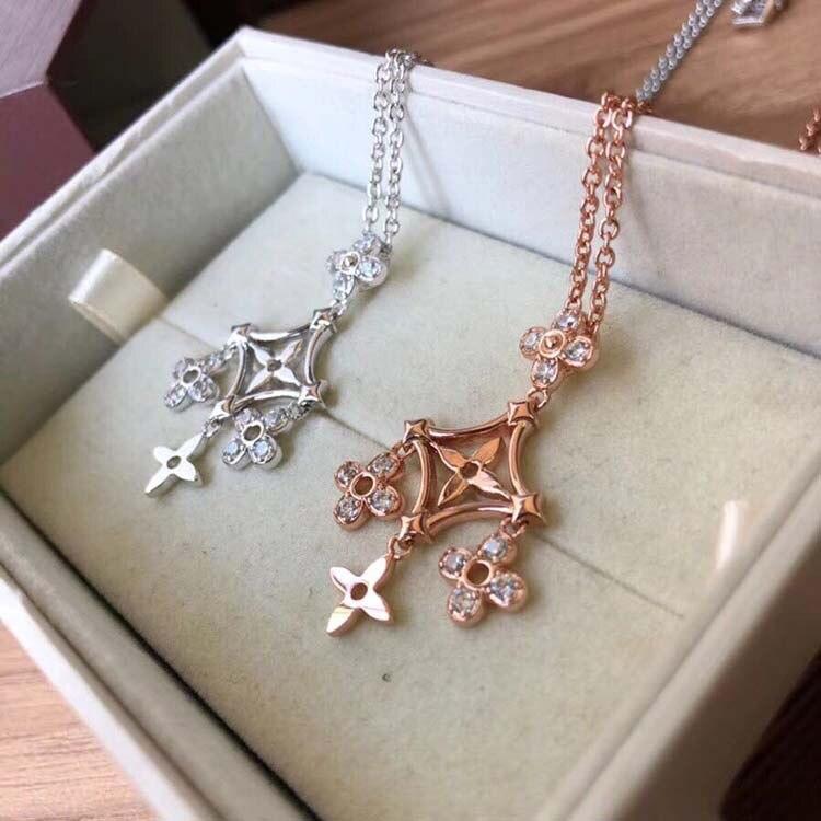 Hot marque pur 925 bijoux en argent Sterling pour les femmes Rose or et argent évider gland fleur collier 2 couleur fête