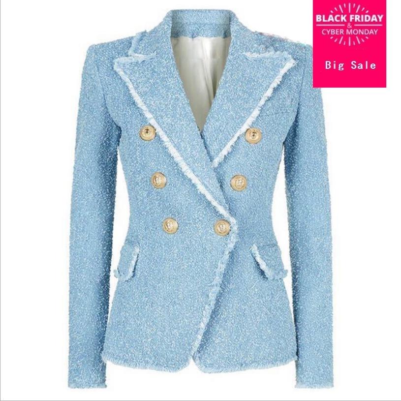 En Outwear Caot 2018 Automne Blue Veste L1356 Boutons Tweed Gland Frange Costume Light Double Métal Freeship Femmes Boutonnage Blazer Femelle qwp0Z