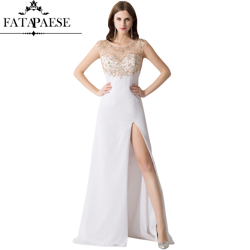 Sheer Neck Beaded Crystal High Split Evening Dresses Long 2019 Sexy Open Back Formal Evening Party Gown Vestido Longo