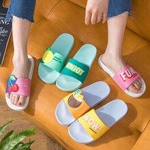 Cute Fruits Women Slippers Summer Slides Cartoon Lemon Cherry Home Slippers Thic
