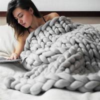 Nova Qualidade de Fibras Acrílicas Mão Pedaços de Malha de Fio De Lã Merino Cobertor Grosso Volumoso Knitting Lance 80x100 cm Atacado & 918