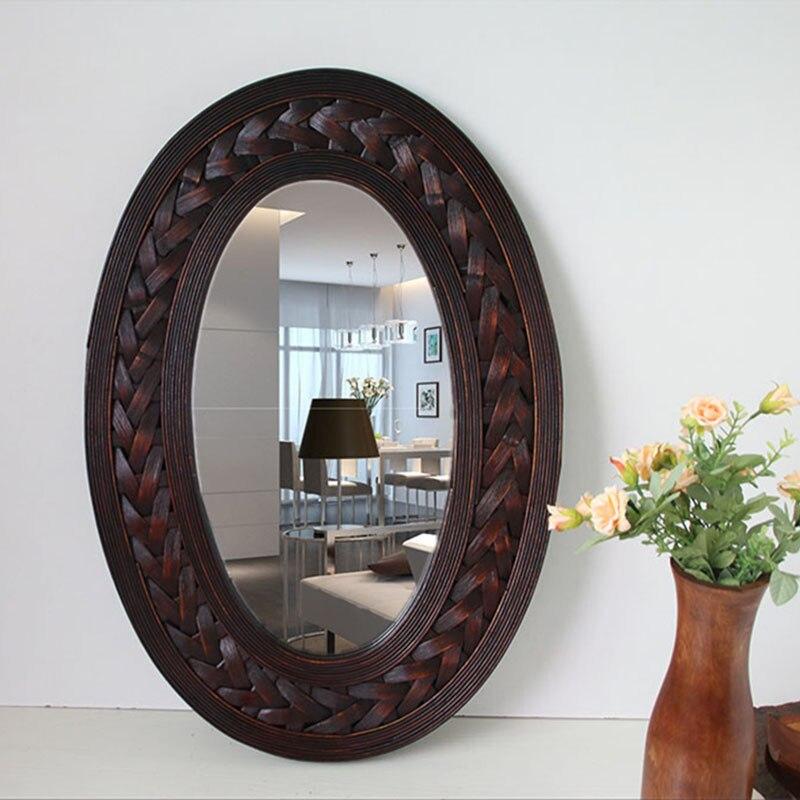 Vintage grand miroir Mural rétro bambou 7 cadre en bois ovale miroir Mural grand salon Mural suspendu miroir Mural grand avec cadre