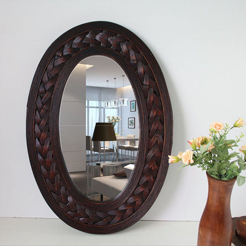Vintage Big Wall Mirror Retro Bamboo 7 Wood Frame Oval
