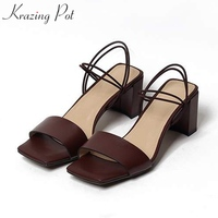 Krazing Pot High Street Fashion Full Grain Leather Sandals Women Open Toe Concise Simple High Heels