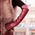 Das mulheres PU Longo Elbow Luvas do Inverno Luvas Longas Luvas de Dedos Completos YRD