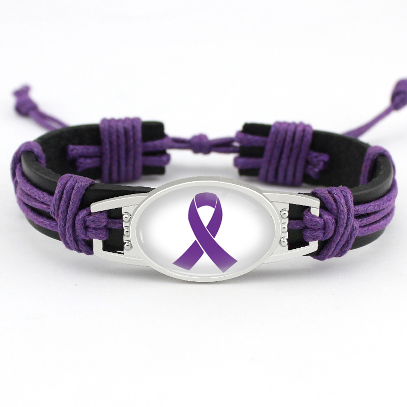 Medical Alert Alzheimers Meningitis Lupus Epilepsy Pancreatic Cancer Domestic Violence Rett Syndrome Hope Ribbon LeatherBracelet-in Charm Bracelets from Jewelry & Accessories