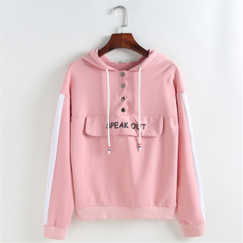 MERRY PRETTY 2018 Womens Pink Hoodies Sweatshirts Sweet FashionLetter Printed Hooded Tops Long Sleeve Patchwork Sweatshirt Teens