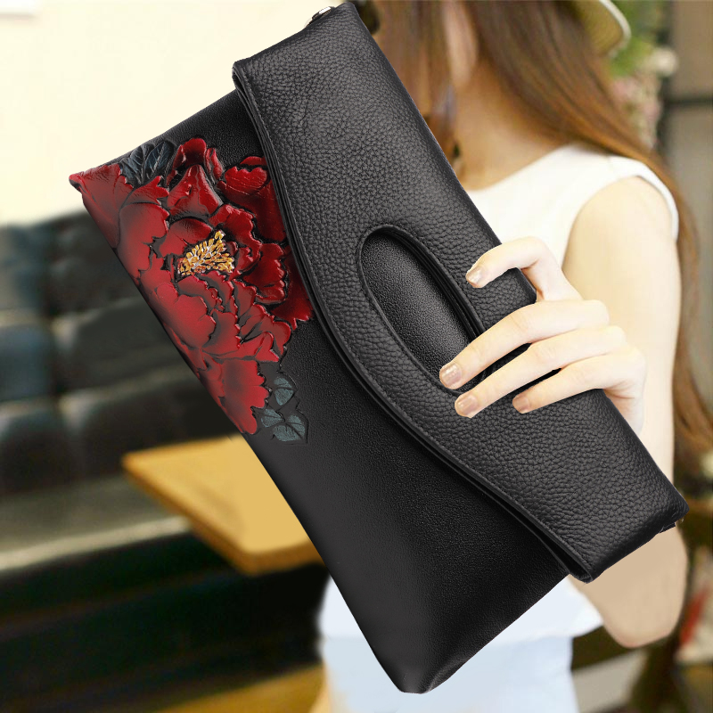 2018 New Style Red Peony Flower Pattern Clutch Wallet Women Top Leather Vintage Handbag Banquet Crossbody Shoulder Bags Gifts harris j blackberry wine