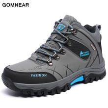 GOMNEAR Sneakers Men Outdoor Tourism Hiking Fishing Breathable Trekking Antiskid Trend Comfortable Boots Leather men's Shoes
