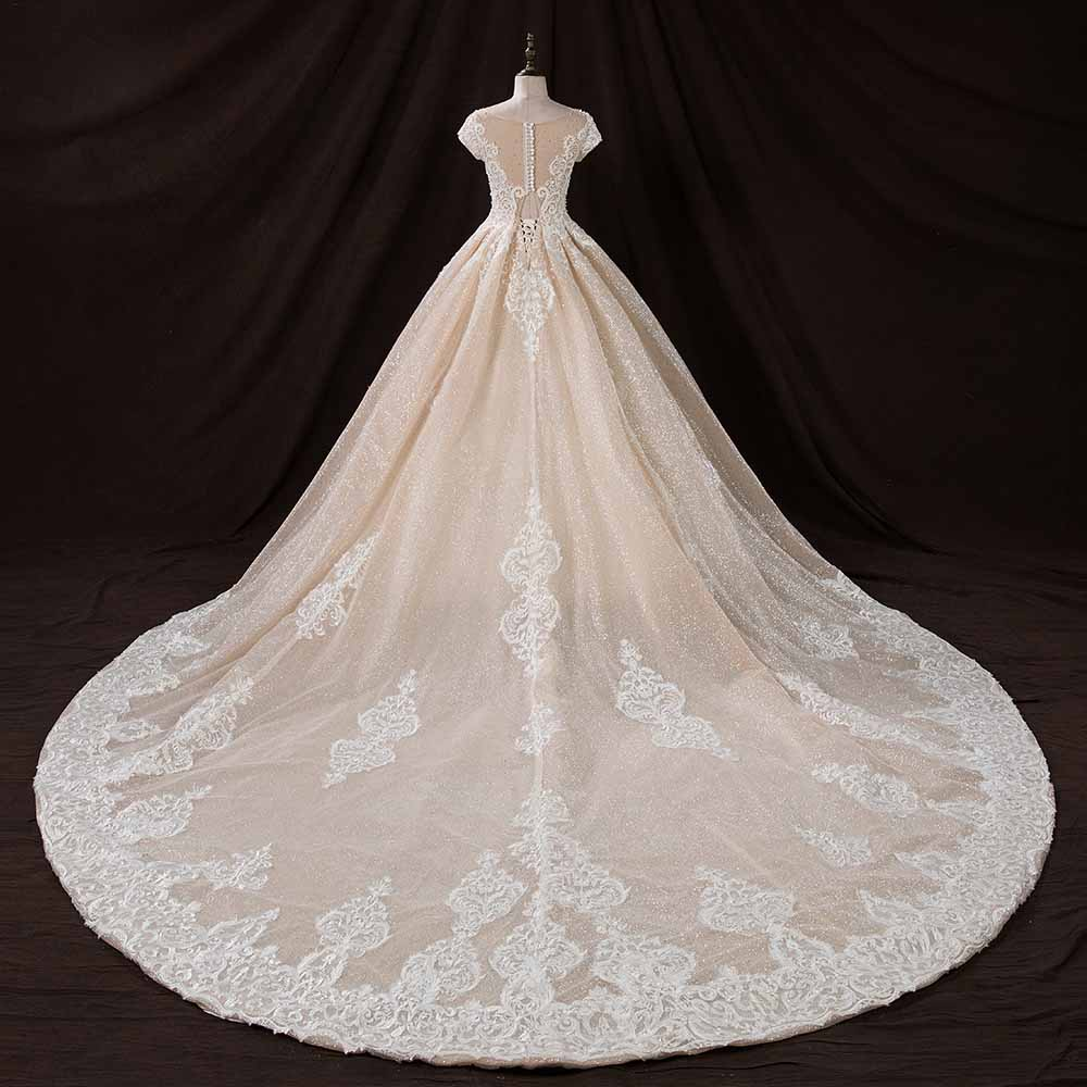 973be2537ef YQLNNE Bling Skin Color Ball Gowns Wedding Dresses 2019 Short Sleeve Lace  Beading Pearls Zipper Back Buttons Bridal Dress