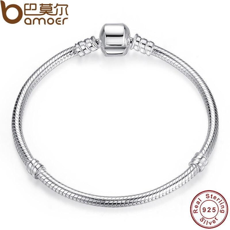 BAMOER Weihnachten VERKAUF Authentische 100% 925 Sterling Silber Schlange Kette Armreif & Armband Luxus Schmuck 17-20 cm PAS902