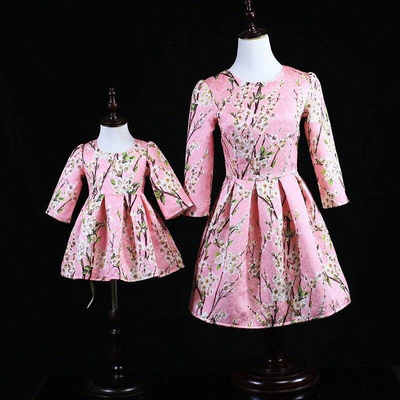Aiqingsha maman et moi famille correspondant mère fille robes automne manteaux fleur maman fille robe enfants Parent enfant tenues
