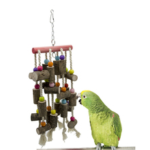 1Pcs Solid Wood Bird Parrot Chew Toy Hanging string Parakeet Wooden String Cage Toys Decoration cage accessories