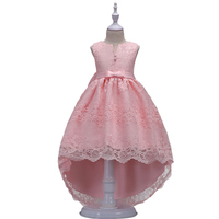BAOHULU Pink Sleeveless Girl Wedding Party Formal Dress Fancy Lace Layer Children Princess Gown Kids Long Frocks with Big Bow