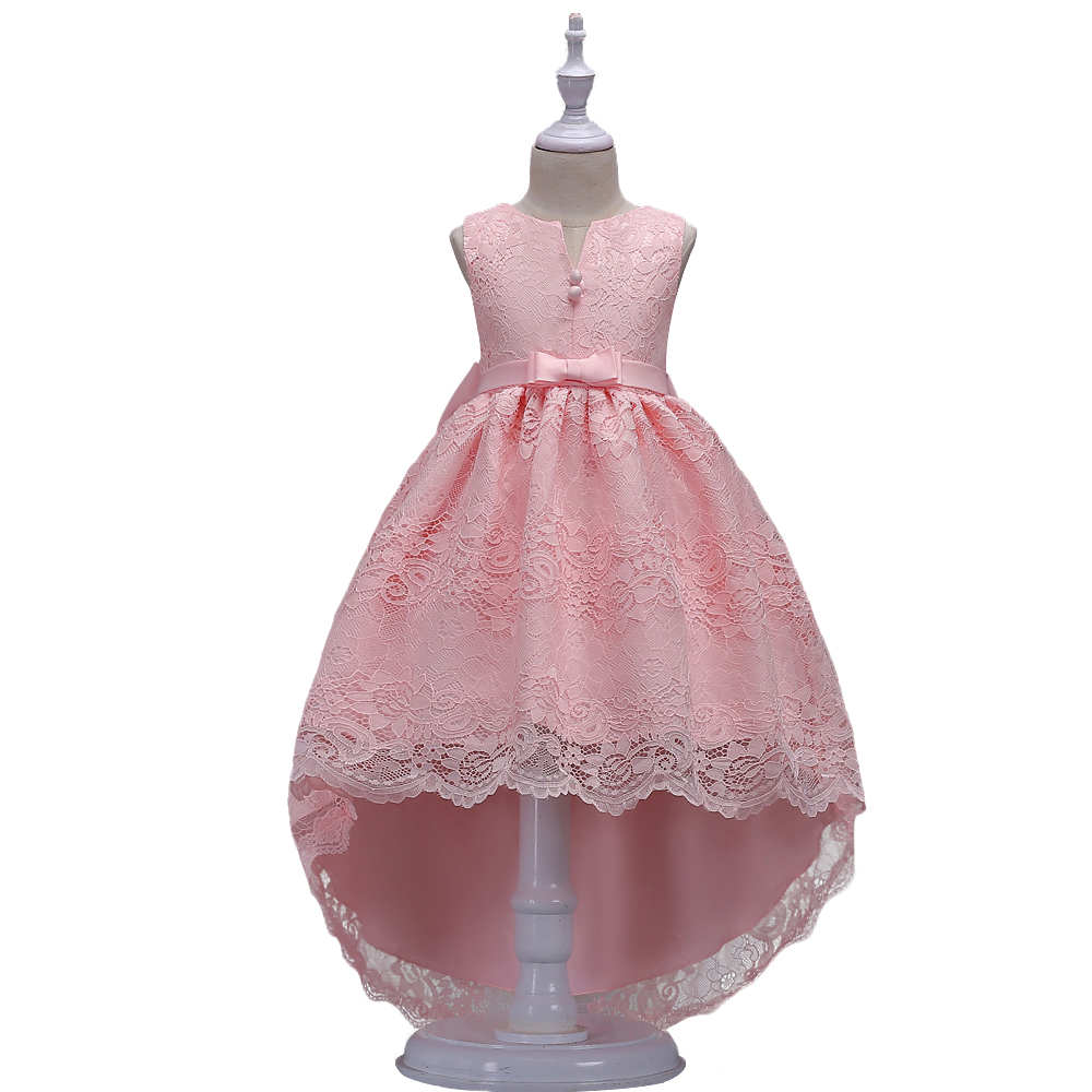 BAOHULU Fancy Lace Princess Girl Wedding Party Wear Children Kids Full Dresses for Girls Swallowtail Design V Frocks with Bow