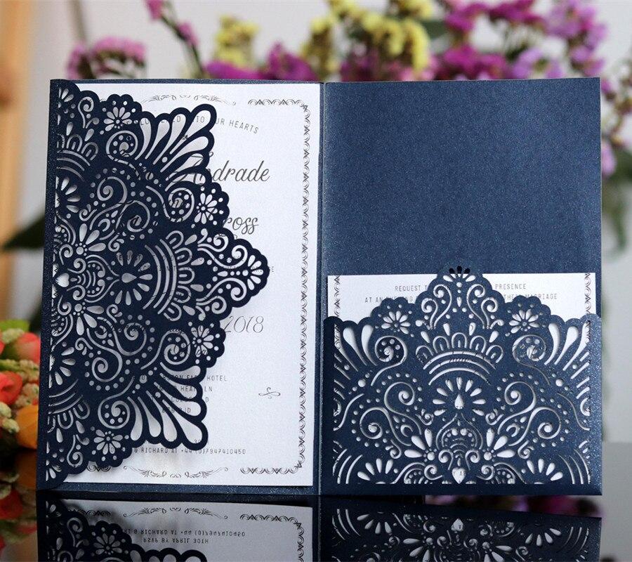 Elegante Tarjeta de invitación personalizada bolsillo tri plegable tarjeta de invitación de negocios blanco azul flor corte láser 50 unids/lote-in Tarjetas e invitaciones from Hogar y Mascotas    1