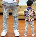 Высокое качество 2017 Весной и Осенью дети брюки мальчиков детские Стрейч джокер джинсы детские джинсы