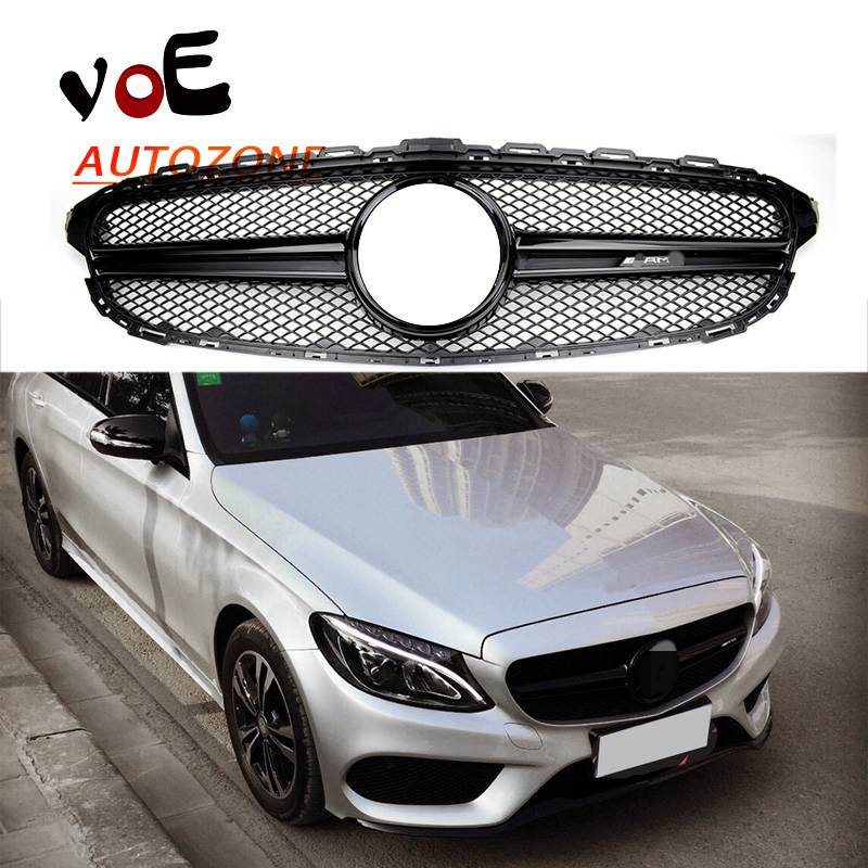 W205 all gloss black amg style amg logo front grill grille for Mercedes benz c300 aftermarket accessories