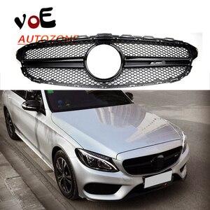 Image 1 - W205 Gloss Black Amg Stijl + Amg Logo Voor Grill Grille Voor Mercedes Benz C Klasse W205 C180 c220 C250 C300 C350 C400 2015 2018