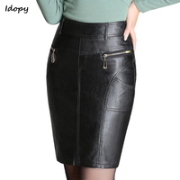 Idopy Women`s Leather Skirt Slim Fit Zippers High Waisted Motorcycle Sexy Faux Leather PU Bodycon Skirt For Girls